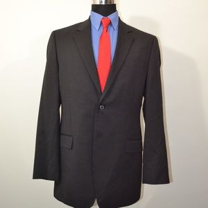 Merona 42L Sport Coat Blazer Suit Jacket Black Pin